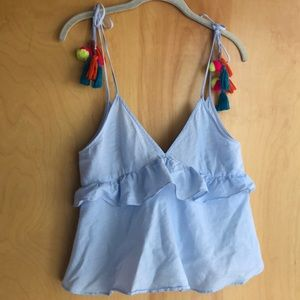 Zara light blue ruffles top colorful tassels XS